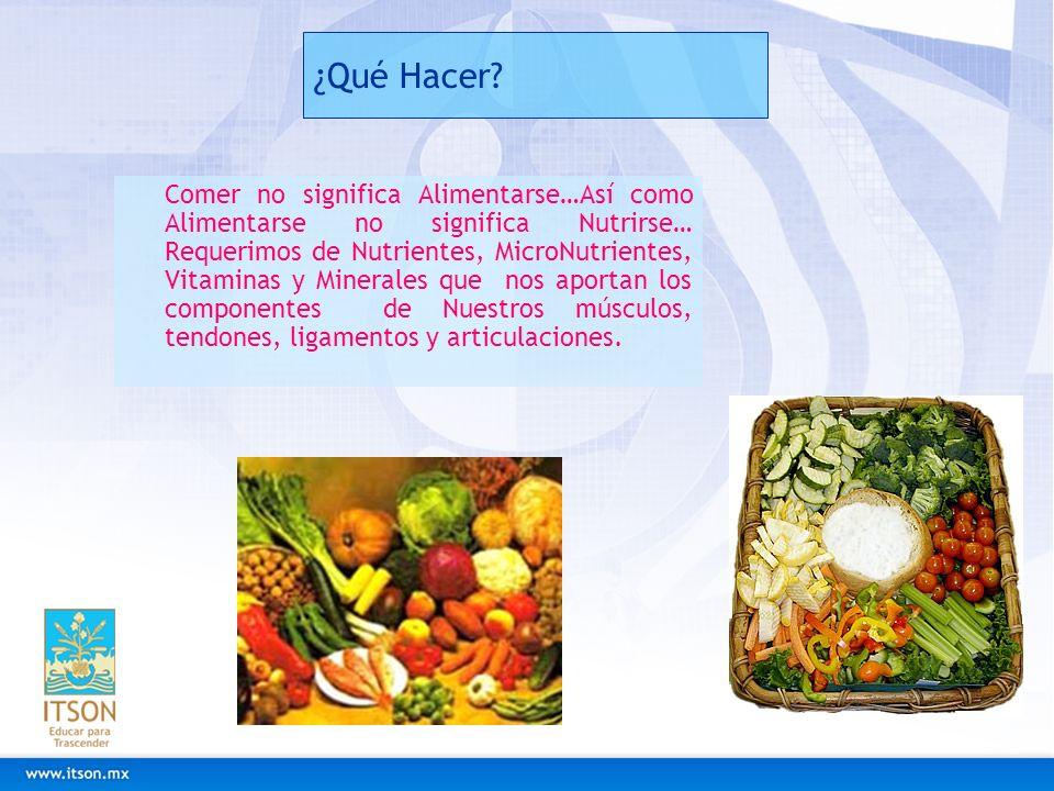 ¿Qué Hacer? Comer no significa Alimentarse…Así como Alimentarse no significa Nutrirse… Requerimos de Nutrientes, MicroNutrientes, Vitaminas y Minerale