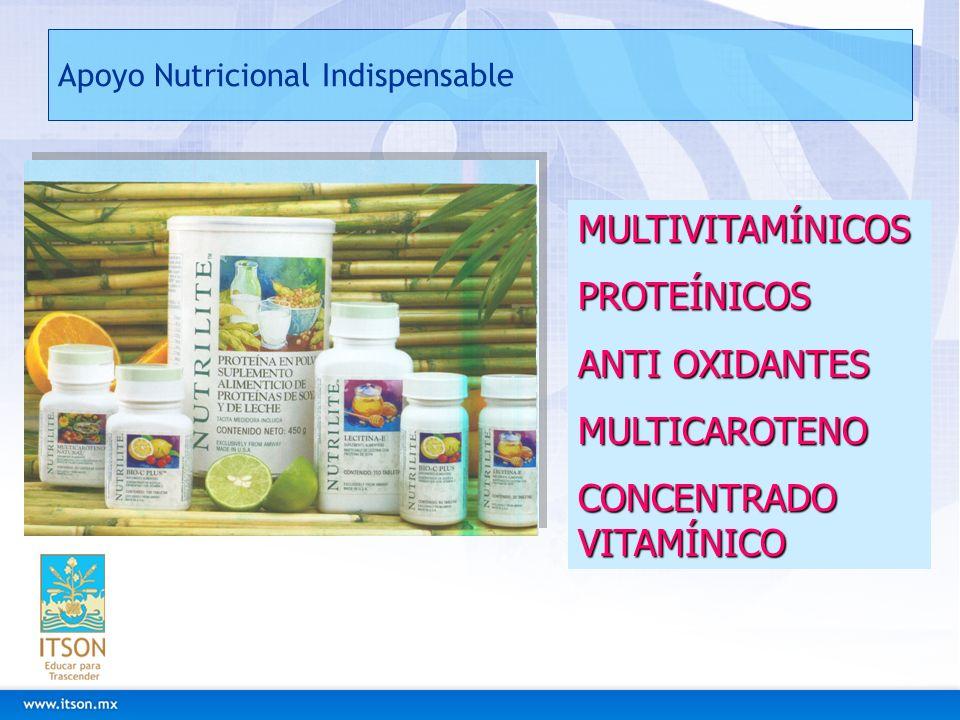 Apoyo Nutricional Indispensable MULTIVITAMÍNICOSPROTEÍNICOS ANTI OXIDANTES MULTICAROTENO CONCENTRADO VITAMÍNICO