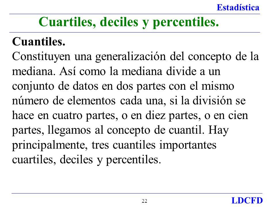 Estadística LDCFD 22 Cuantiles. Constituyen una generalización del concepto de la mediana. Así como la mediana divide a un conjunto de datos en dos pa