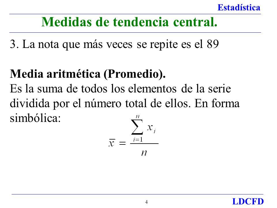 Estadística LDCFD 4 Medidas de tendencia central. 3. La nota que más veces se repite es el 89 Media aritmética (Promedio). Es la suma de todos los ele