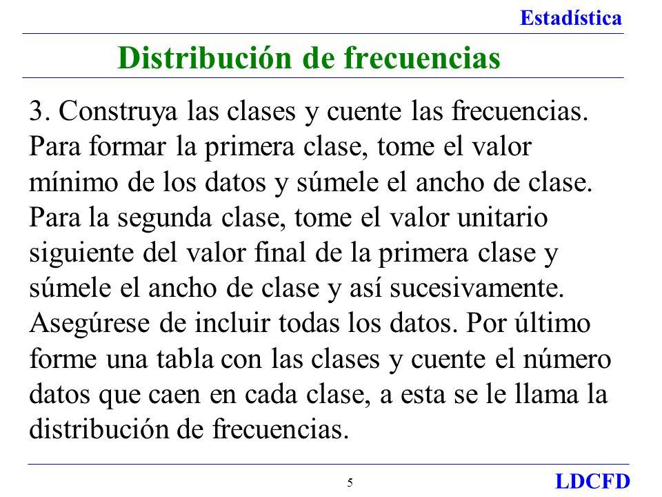 Estadística LDCFD 5 3.Construya las clases y cuente las frecuencias.
