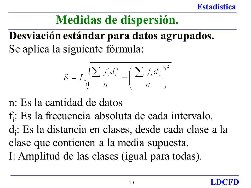 Estadística LDCFD 10 Desviación estándar para datos agrupados. Se aplica la siguiente fórmula: n: Es la cantidad de datos f i : Es la frecuencia absol