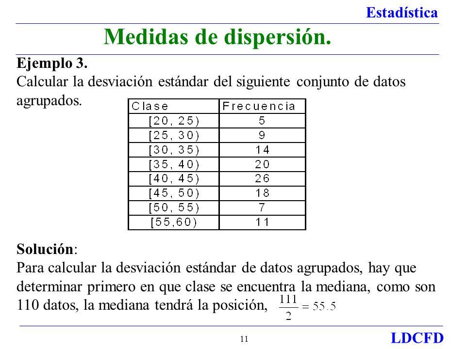 Estadística LDCFD 11 Ejemplo 3. Calcular la desviación estándar del siguiente conjunto de datos agrupados. Solución: Para calcular la desviación están