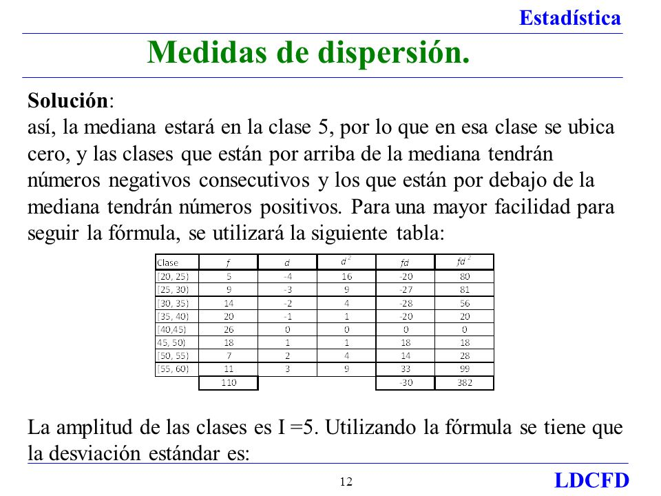 Estadística LDCFD 12 Solución: así, la mediana estará en la clase 5, por lo que en esa clase se ubica cero, y las clases que están por arriba de la me