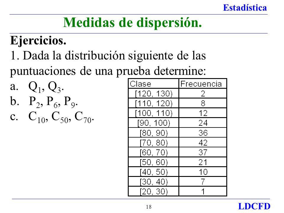 Estadística LDCFD 18 Ejercicios. 1. Dada la distribución siguiente de las puntuaciones de una prueba determine: a. Q 1, Q 3. b. P 2, P 6, P 9. c. C 10