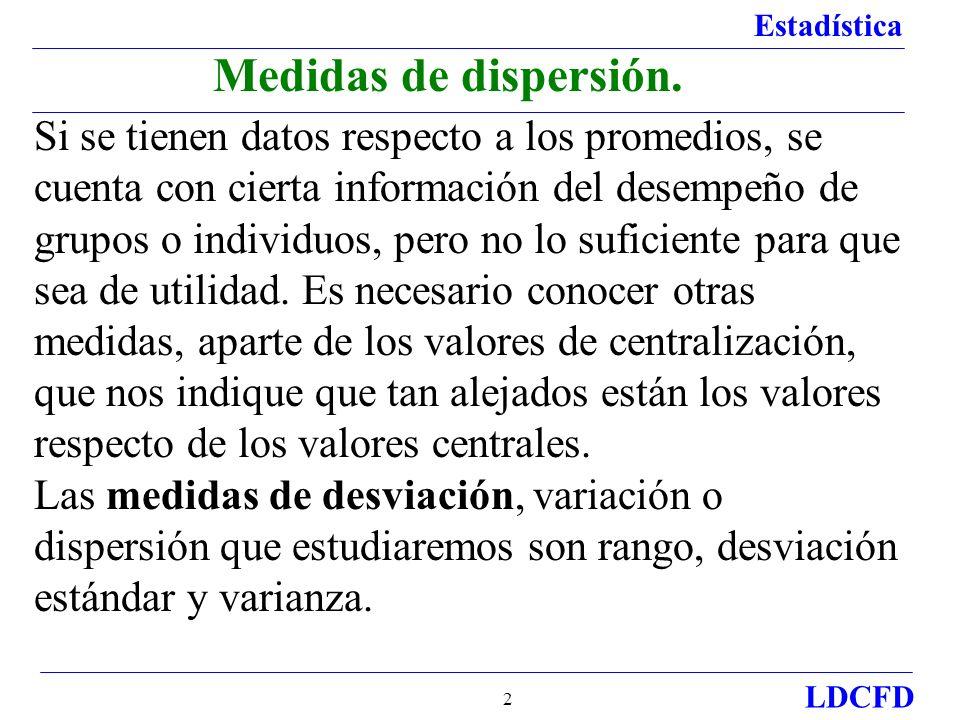 Estadística LDCFD 2 Si se tienen datos respecto a los promedios, se cuenta con cierta información del desempeño de grupos o individuos, pero no lo suf