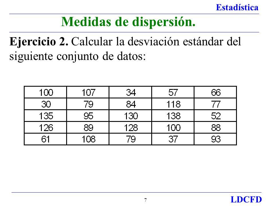 Estadística LDCFD 7 Ejercicio 2. Calcular la desviación estándar del siguiente conjunto de datos: Medidas de dispersión.