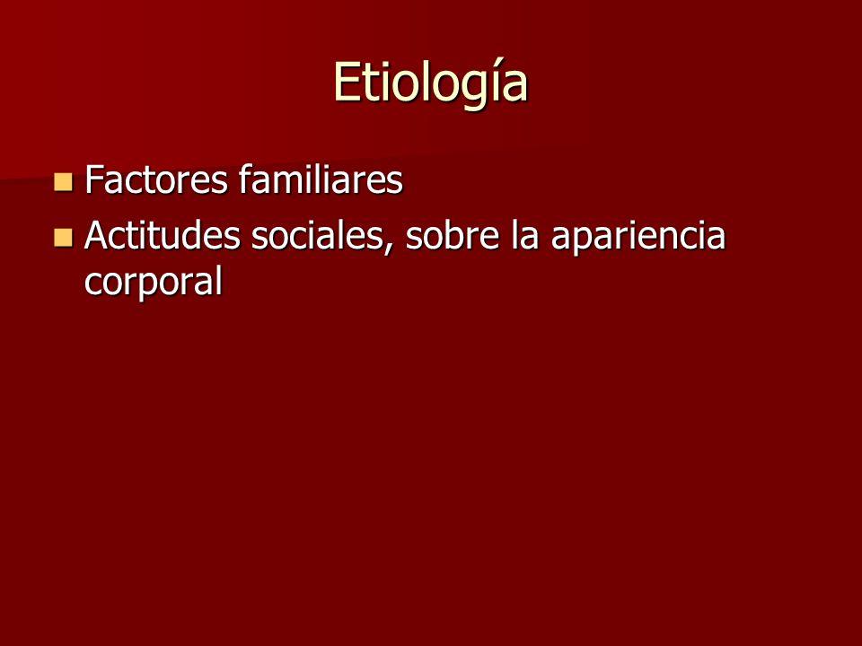 Etiología Factores familiares Factores familiares Actitudes sociales, sobre la apariencia corporal Actitudes sociales, sobre la apariencia corporal