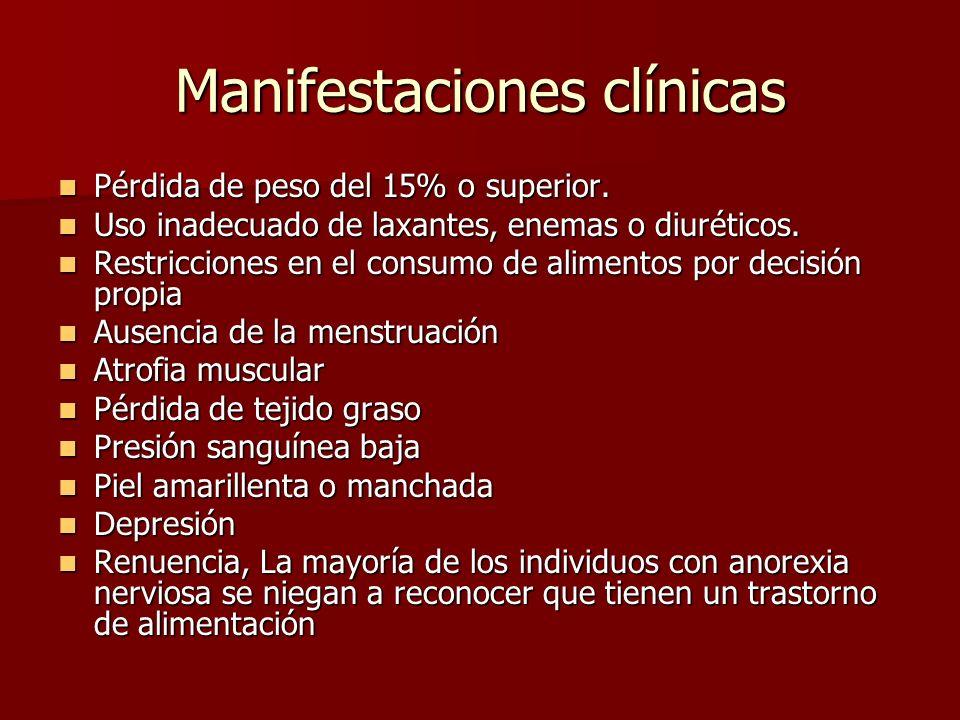 Manifestaciones clínicas Pérdida de peso del 15% o superior.