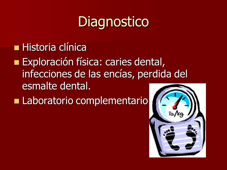 Diagnostico Historia clínica Historia clínica Exploración física: caries dental, infecciones de las encías, perdida del esmalte dental. Exploración fí