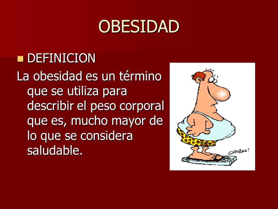 OBESIDAD DEFINICION DEFINICION La obesidad es un término que se utiliza para describir el peso corporal que es, mucho mayor de lo que se considera saludable.