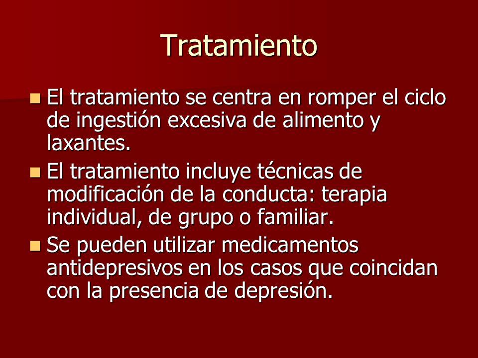 Tratamiento El tratamiento se centra en romper el ciclo de ingestión excesiva de alimento y laxantes. El tratamiento se centra en romper el ciclo de i