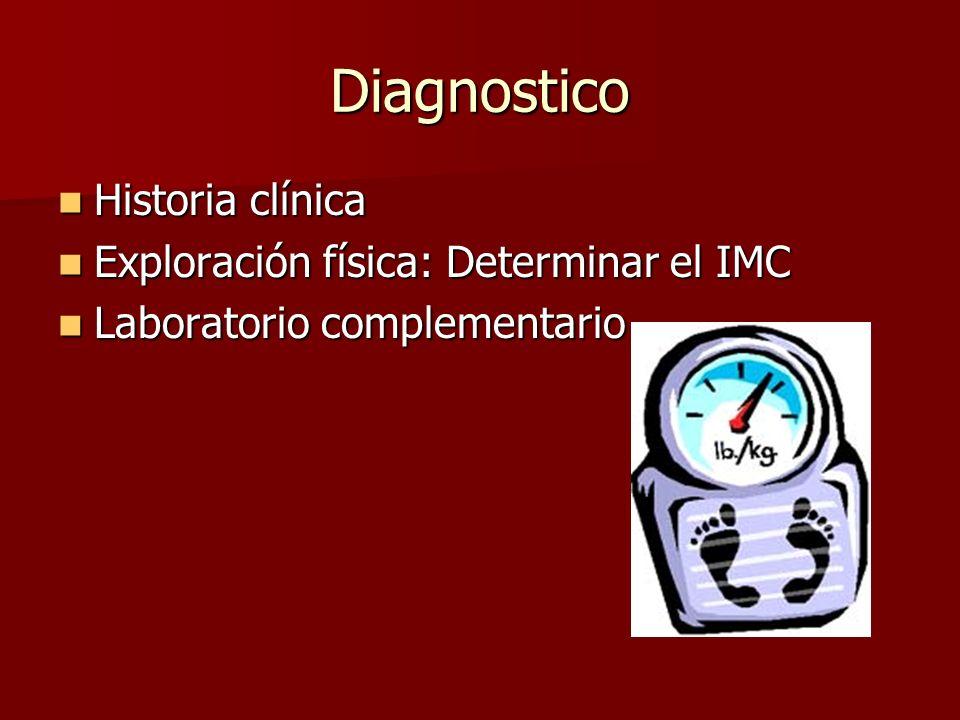 Diagnostico Historia clínica Historia clínica Exploración física: Determinar el IMC Exploración física: Determinar el IMC Laboratorio complementario Laboratorio complementario