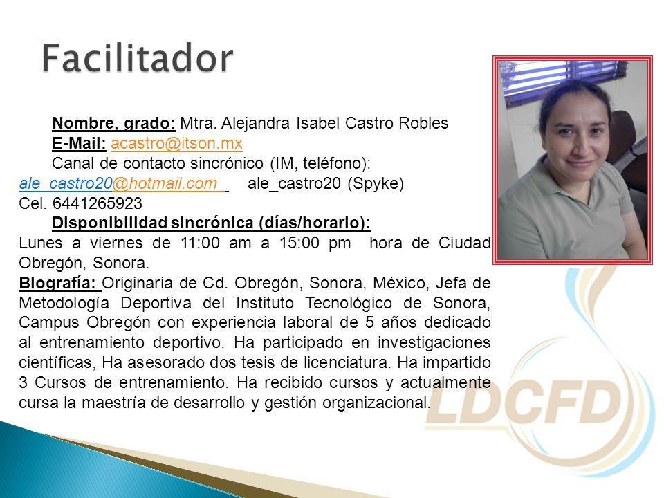 Nombre, grado: Mtra. Alejandra Isabel Castro Robles E-Mail: acastro@itson.mxacastro@itson.mx Canal de contacto sincrónico (IM, teléfono): ale_castro20