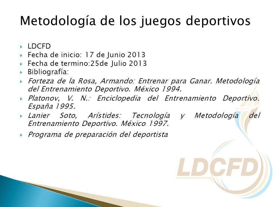 Metodología de los juegos deportivos LDCFD Fecha de inicio: 17 de Junio 2013 Fecha de termino:25de Julio 2013 Bibliografía: Forteza de la Rosa, Armand