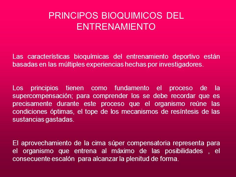 PRINCIPOS BIOQUIMICOS DEL ENTRENAMIENTO Las características bioquímicas del entrenamiento deportivo están basadas en las múltiples experiencias hechas