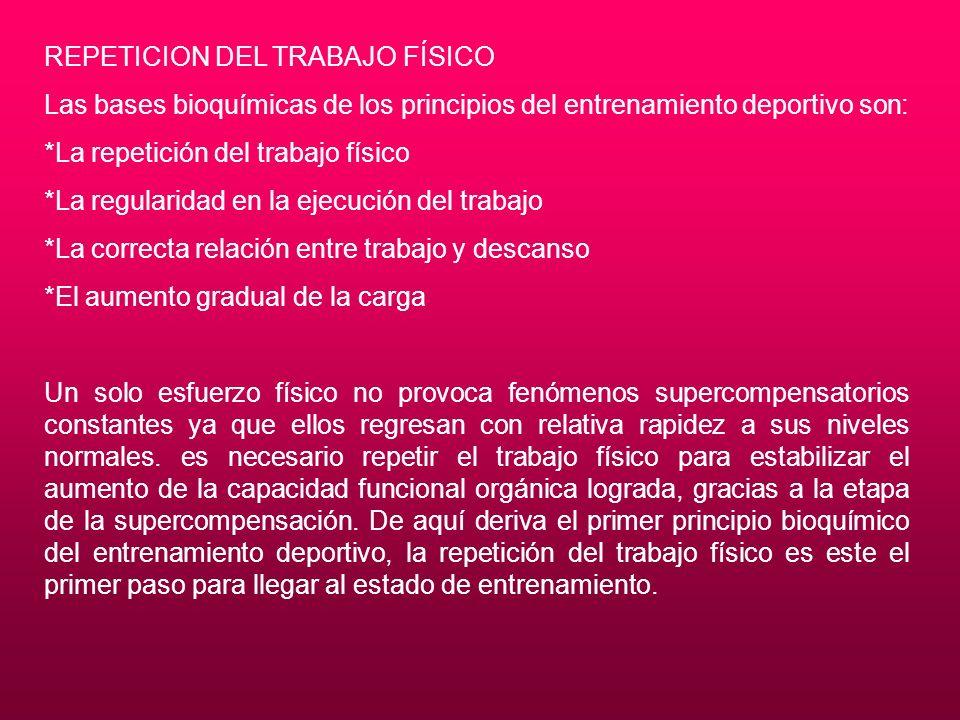 REPETICION DEL TRABAJO FÍSICO Las bases bioquímicas de los principios del entrenamiento deportivo son: *La repetición del trabajo físico *La regularid