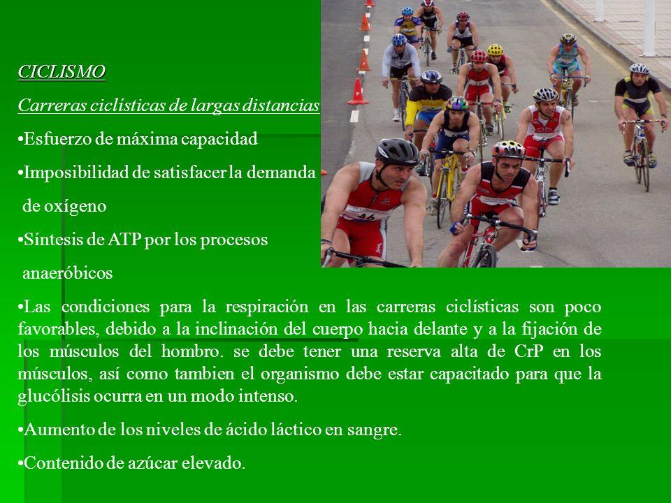 CICLISMO Carreras ciclísticas de largas distancias Esfuerzo de máxima capacidad Imposibilidad de satisfacer la demanda de oxígeno Síntesis de ATP por