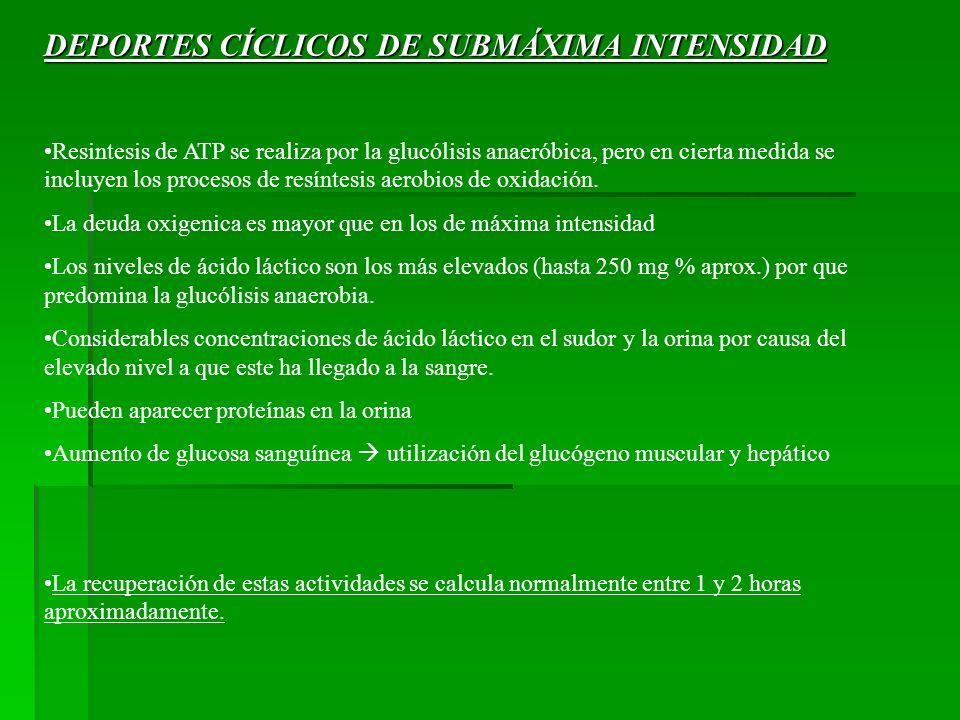 DEPORTES CÍCLICOS DE SUBMÁXIMA INTENSIDAD Resintesis de ATP se realiza por la glucólisis anaeróbica, pero en cierta medida se incluyen los procesos de