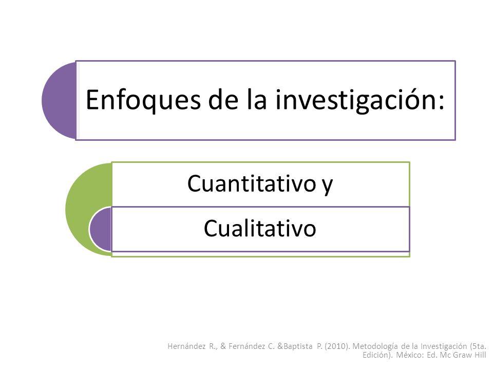 Enfoques de la investigación: Cuantitativo y Cualitativo Hernández R., & Fernández C. &Baptista P. (2010). Metodología de la Investigación (5ta. Edici