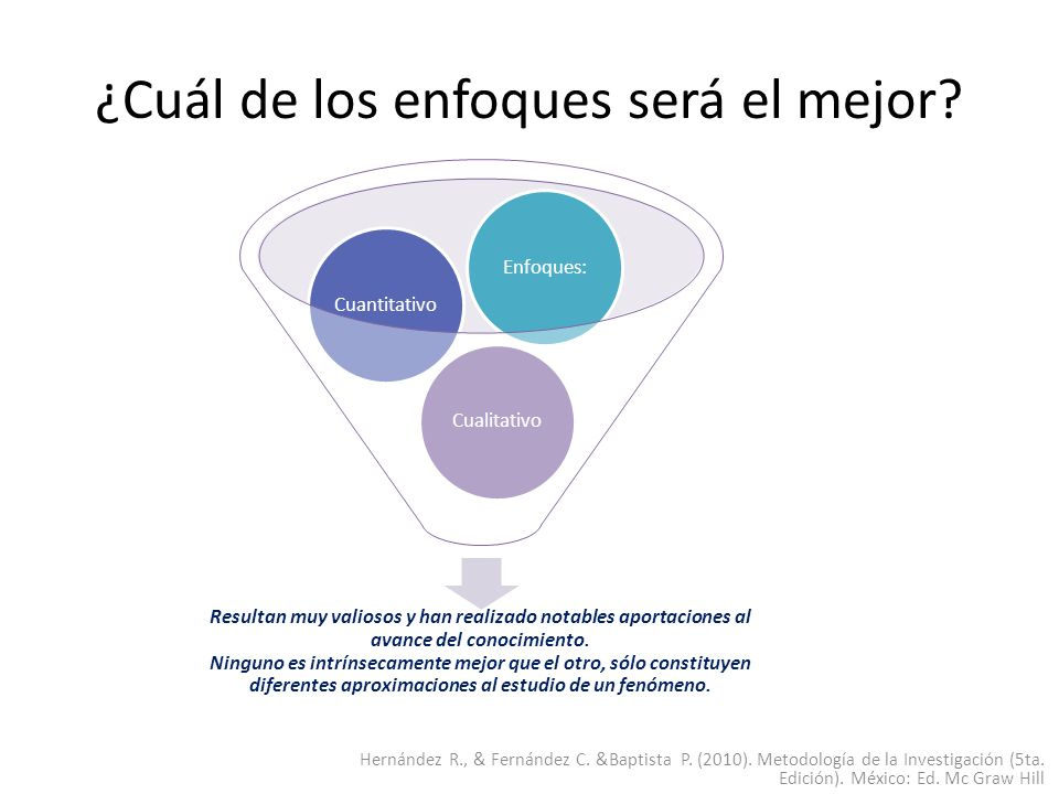 ¿Cuál de los enfoques será el mejor? Hernández R., & Fernández C. &Baptista P. (2010). Metodología de la Investigación (5ta. Edición). México: Ed. Mc