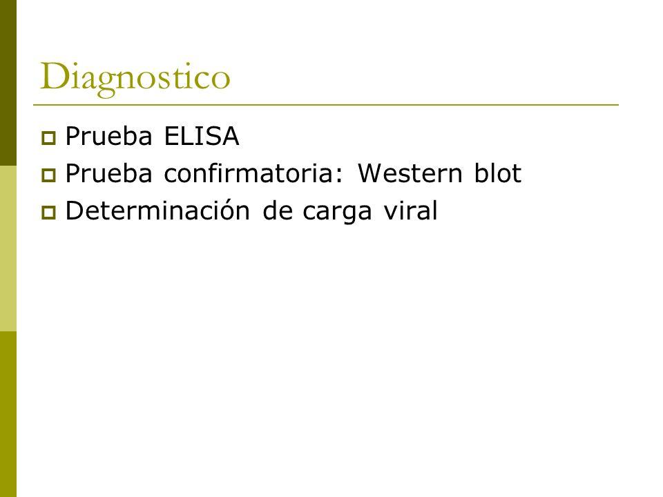 Diagnostico Prueba ELISA Prueba confirmatoria: Western blot Determinación de carga viral