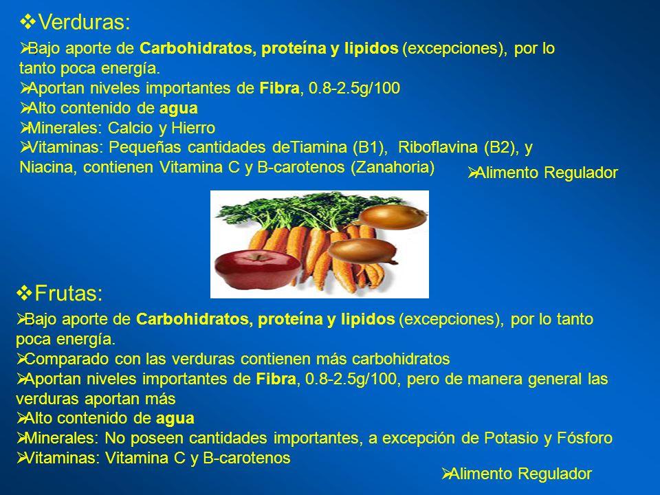 Verduras: l Bajo aporte de Carbohidratos, proteína y lipidos (excepciones), por lo tanto poca energía. Aportan niveles importantes de Fibra, 0.8-2.5g/