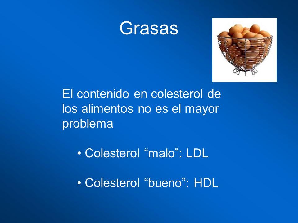Grasas El contenido en colesterol de los alimentos no es el mayor problema Colesterol malo: LDL Colesterol bueno: HDL
