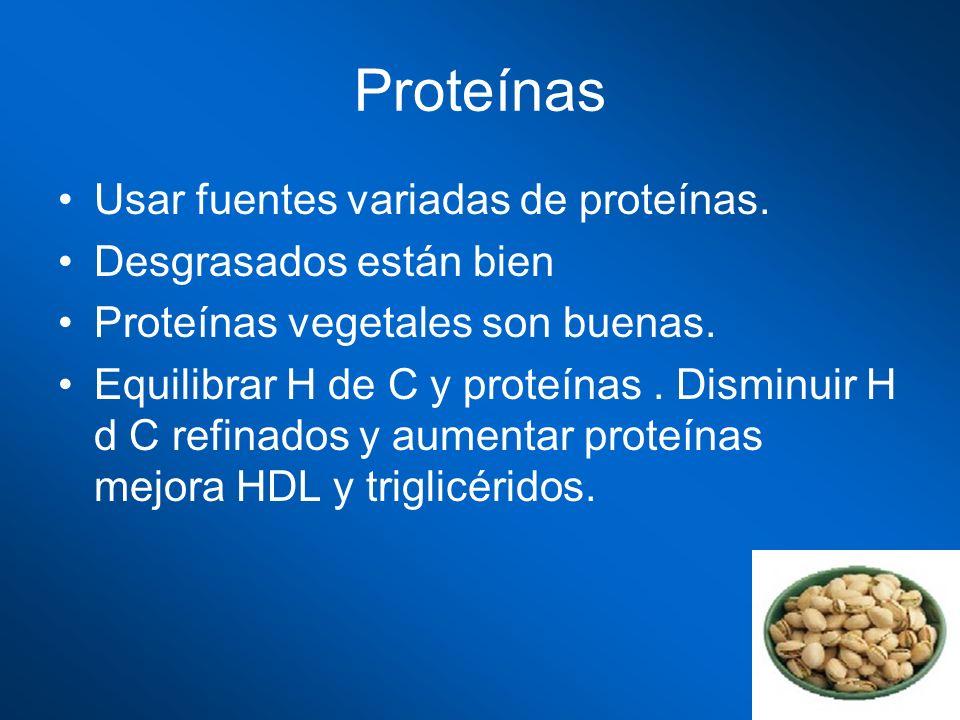 Proteínas Usar fuentes variadas de proteínas. Desgrasados están bien Proteínas vegetales son buenas. Equilibrar H de C y proteínas. Disminuir H d C re