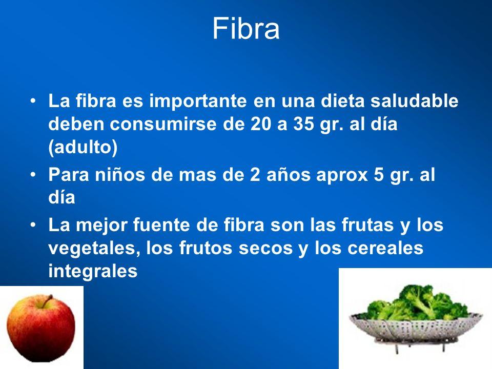 Fibra La fibra es importante en una dieta saludable deben consumirse de 20 a 35 gr. al día (adulto) Para niños de mas de 2 años aprox 5 gr. al día La