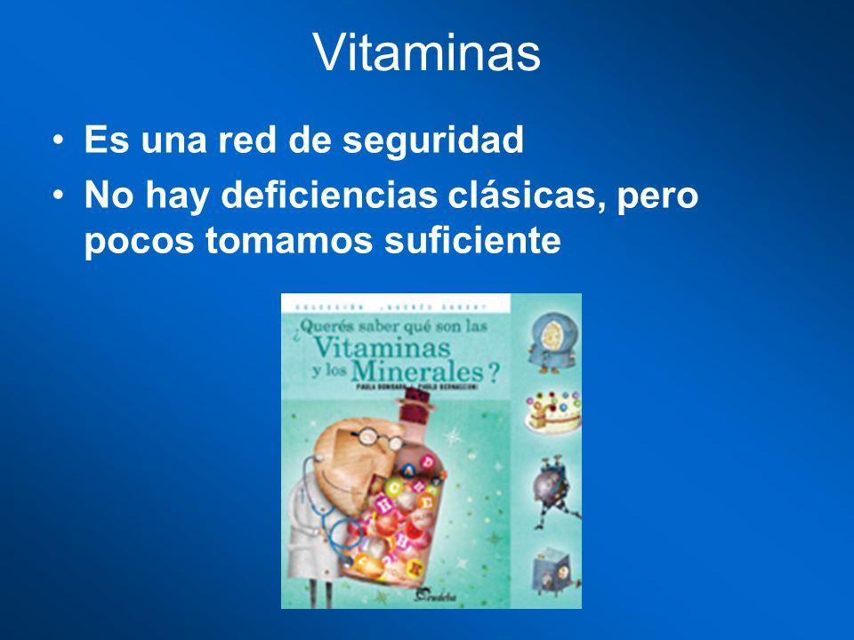 Vitaminas Es una red de seguridad No hay deficiencias clásicas, pero pocos tomamos suficiente