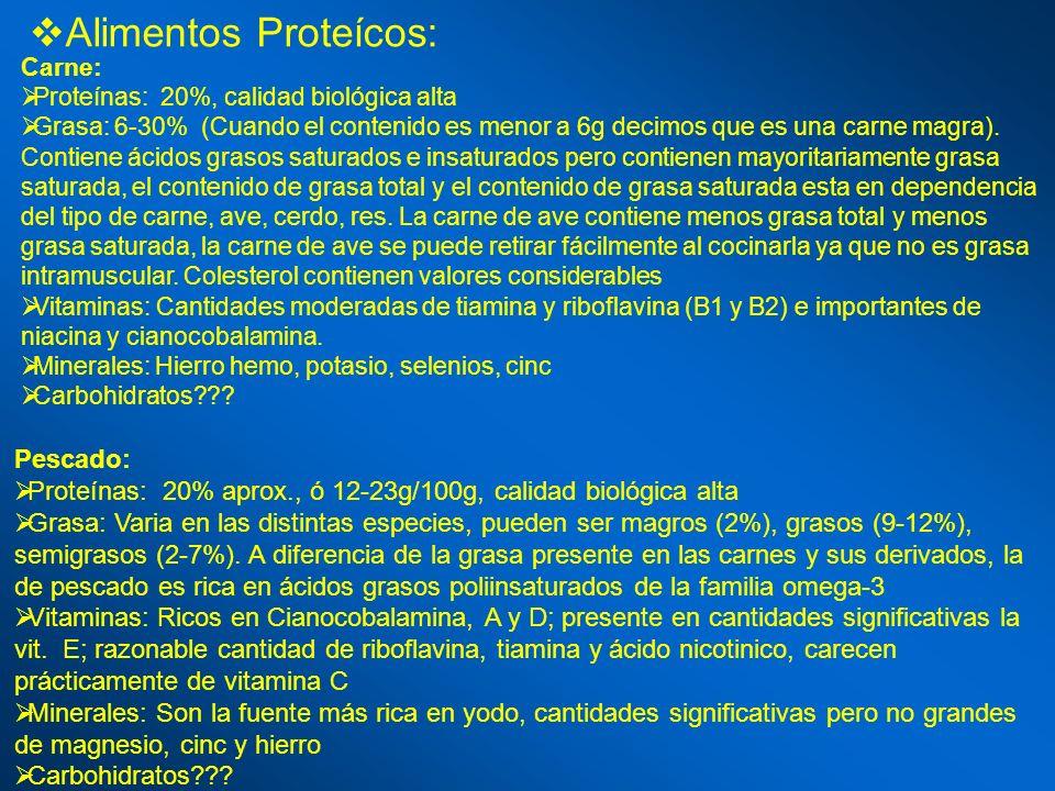 Alimentos Proteícos: Carne: Proteínas: 20%, calidad biológica alta Grasa: 6-30% (Cuando el contenido es menor a 6g decimos que es una carne magra). Co
