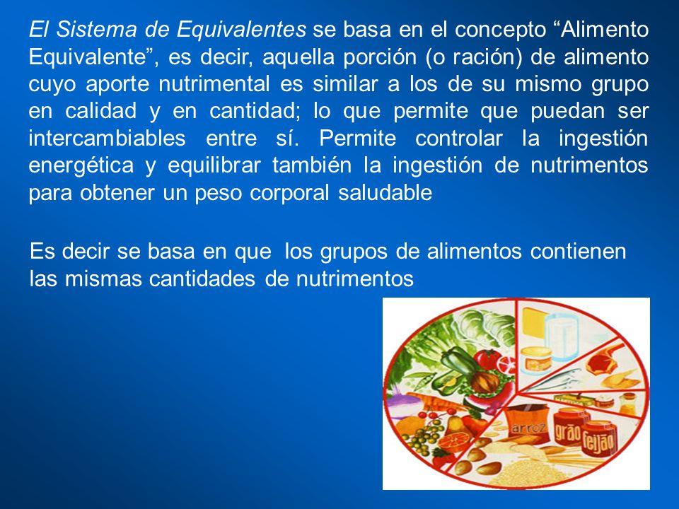 El Sistema de Equivalentes se basa en el concepto Alimento Equivalente, es decir, aquella porción (o ración) de alimento cuyo aporte nutrimental es si