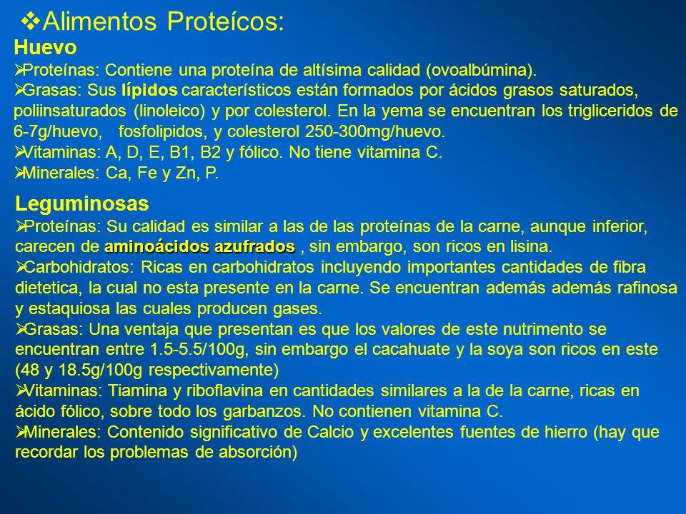 Alimentos Proteícos: Huevo Proteínas: Contiene una proteína de altísima calidad (ovoalbúmina). Grasas: Sus lípidos característicos están formados por