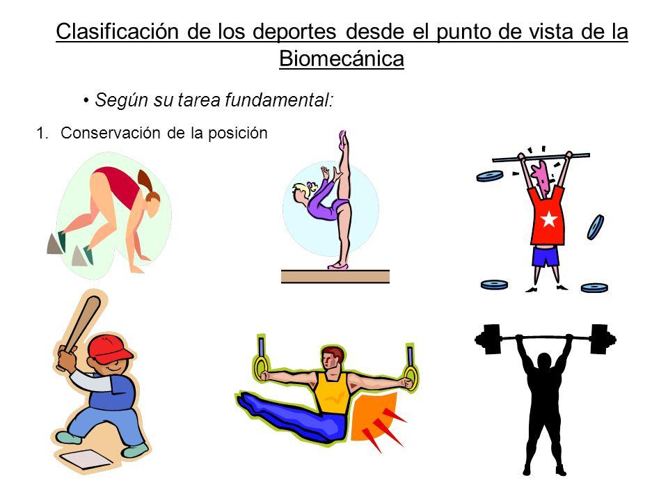 Clasificación de los deportes desde el punto de vista de la Biomecánica Según su tarea fundamental: 1.Conservación de la posición