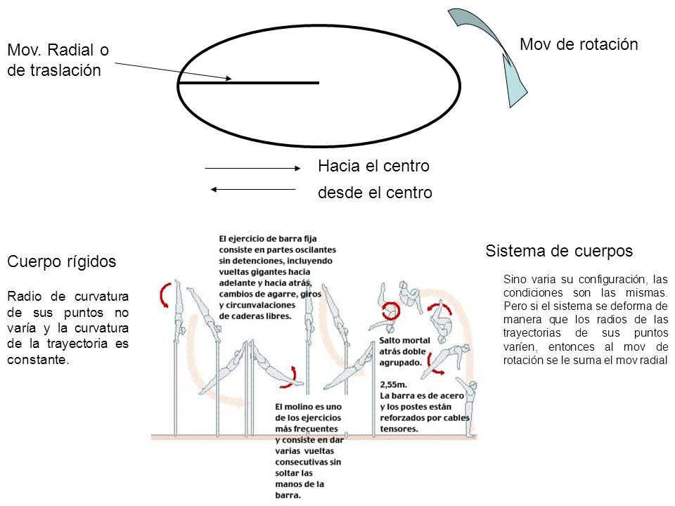 Mov. Radial o de traslación Hacia el centro desde el centro Mov de rotación Cuerpo rígidos Sistema de cuerpos Radio de curvatura de sus puntos no varí