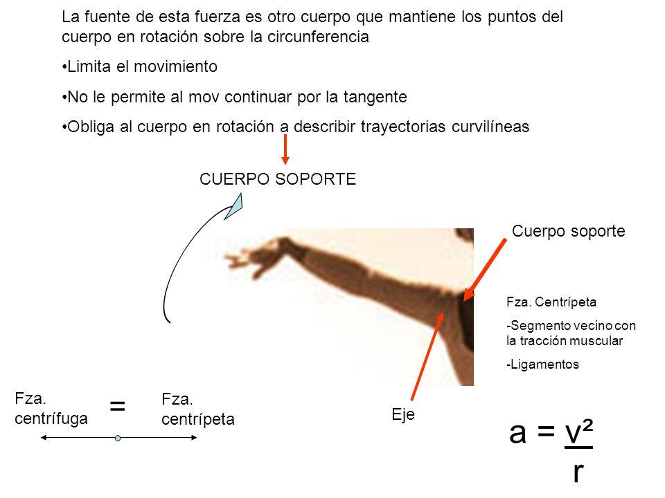 La fuente de esta fuerza es otro cuerpo que mantiene los puntos del cuerpo en rotación sobre la circunferencia Limita el movimiento No le permite al m