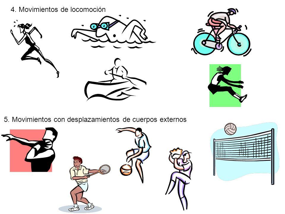 4. Movimientos de locomoción 5. Movimientos con desplazamientos de cuerpos externos