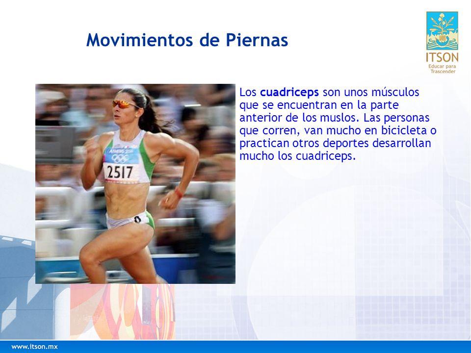 Movimientos de Piernas Los cuadriceps son unos músculos que se encuentran en la parte anterior de los muslos. Las personas que corren, van mucho en bi