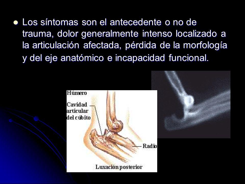 Los síntomas son el antecedente o no de trauma, dolor generalmente intenso localizado a la articulación afectada, pérdida de la morfología y del eje a
