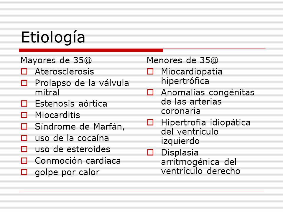 Etiología Mayores de 35@ Aterosclerosis Prolapso de la válvula mitral Estenosis aórtica Miocarditis Síndrome de Marfán, uso de la cocaína uso de ester
