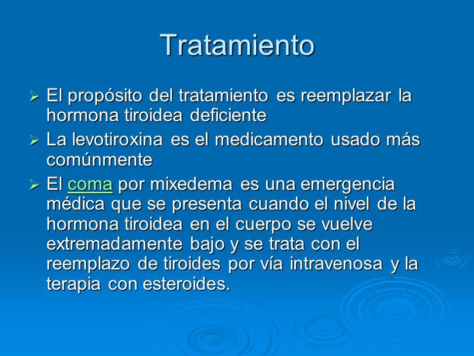 Tratamiento El propósito del tratamiento es reemplazar la hormona tiroidea deficiente El propósito del tratamiento es reemplazar la hormona tiroidea d
