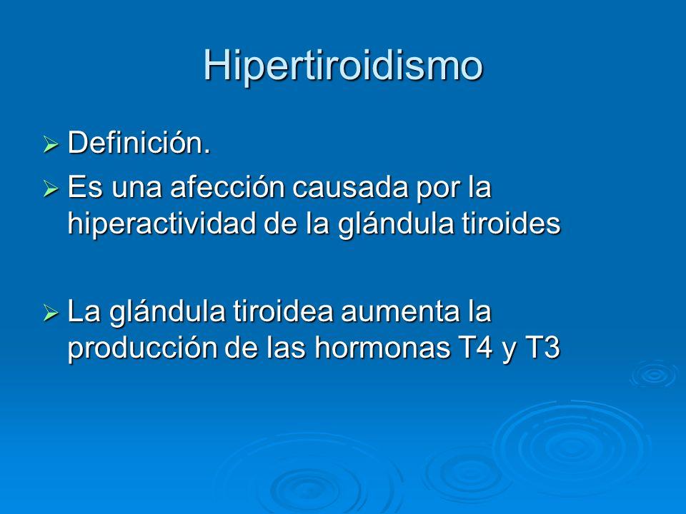 Etiología Enfermedad de Graves (85%) Enfermedad de Graves (85%) Tumores no cancerosos de la glándula tiroidea o de la hipófisis Tumores no cancerosos de la glándula tiroidea o de la hipófisis Tumores de los testículos o de los ovarios Tumores de los testículos o de los ovarios Inflamación de la tiroides por una infección viral u otras Inflamación de la tiroides por una infección viral u otras Ingestión de cantidades excesivas de la hormona tiroidea Ingestión de cantidades excesivas de la hormona tiroidea Ingestión excesiva de yodo Ingestión excesiva de yodo