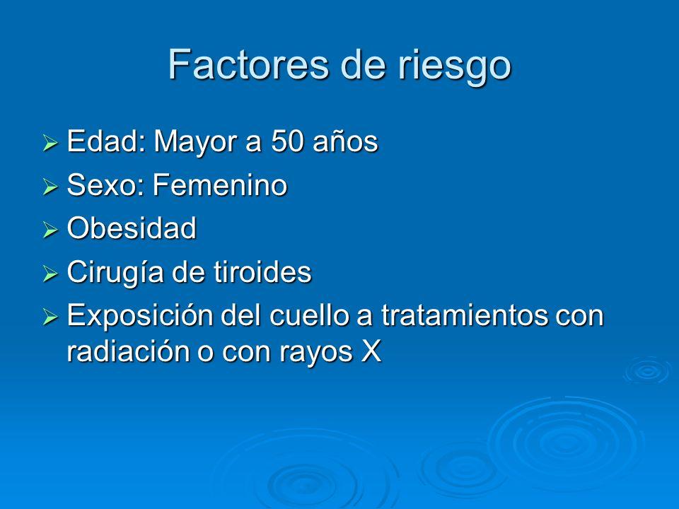 Factores de riesgo Edad: Mayor a 50 años Edad: Mayor a 50 años Sexo: Femenino Sexo: Femenino Obesidad Obesidad Cirugía de tiroides Cirugía de tiroides
