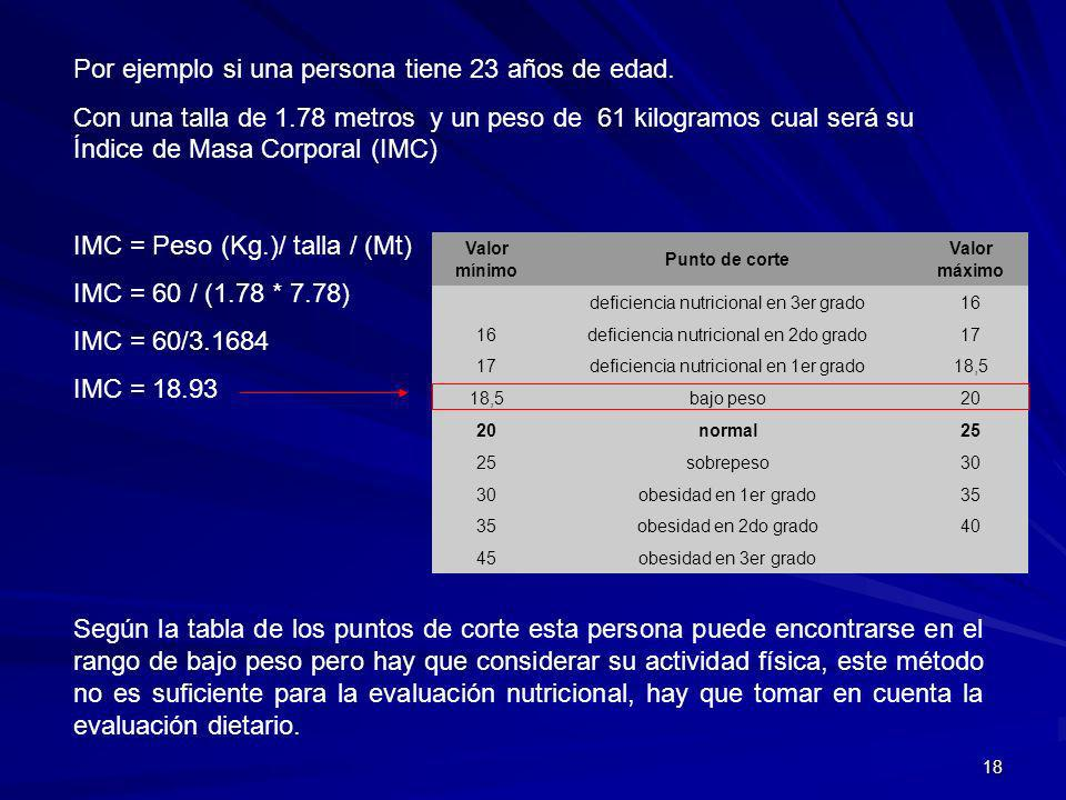 18 Por ejemplo si una persona tiene 23 años de edad. Con una talla de 1.78 metros y un peso de 61 kilogramos cual será su Índice de Masa Corporal (IMC