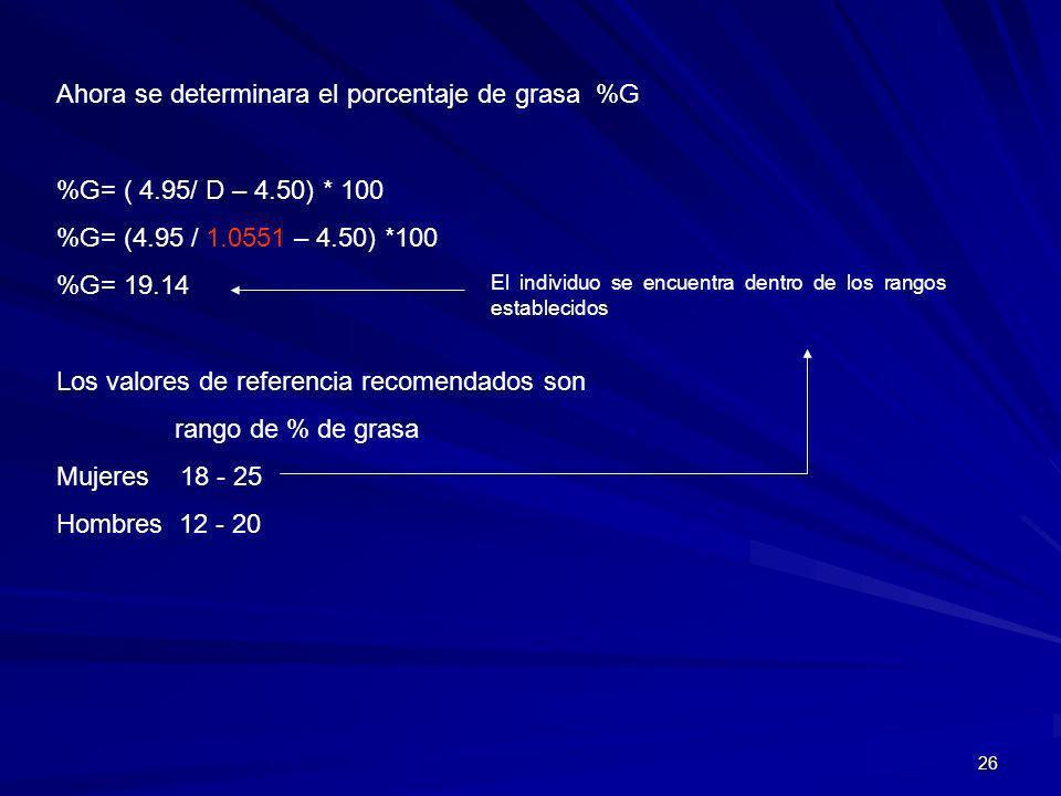 26 Ahora se determinara el porcentaje de grasa %G %G= ( 4.95/ D – 4.50) * 100 %G= (4.95 / 1.0551 – 4.50) *100 %G= 19.14 Los valores de referencia reco
