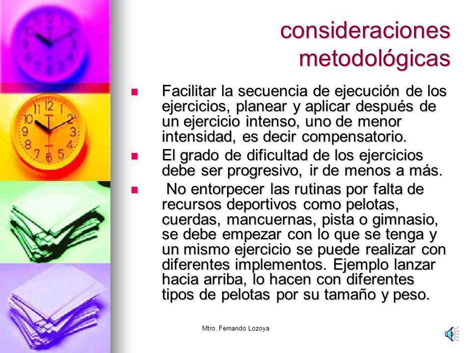 Mtro. Fernando Lozoya consideraciones metodológicas Las sesiones de activación física se pueden implementar de forma individual, en grupos pequeños me