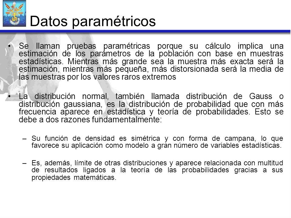 Datos paramétricos Se llaman pruebas paramétricas porque su cálculo implica una estimación de los parámetros de la población con base en muestras esta