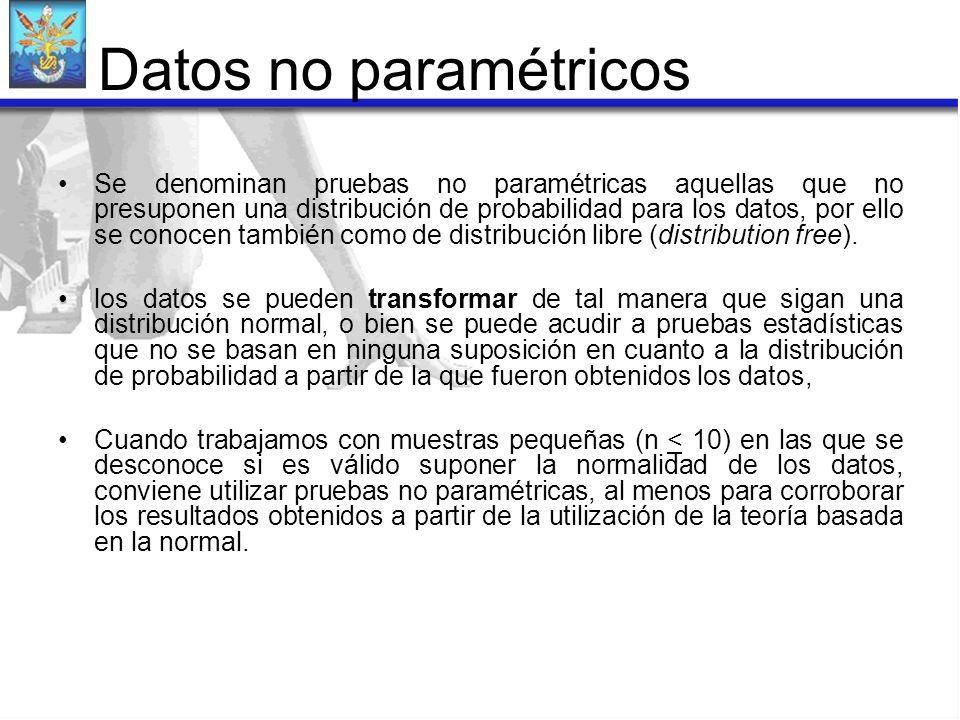 Se denominan pruebas no paramétricas aquellas que no presuponen una distribución de probabilidad para los datos, por ello se conocen también como de d