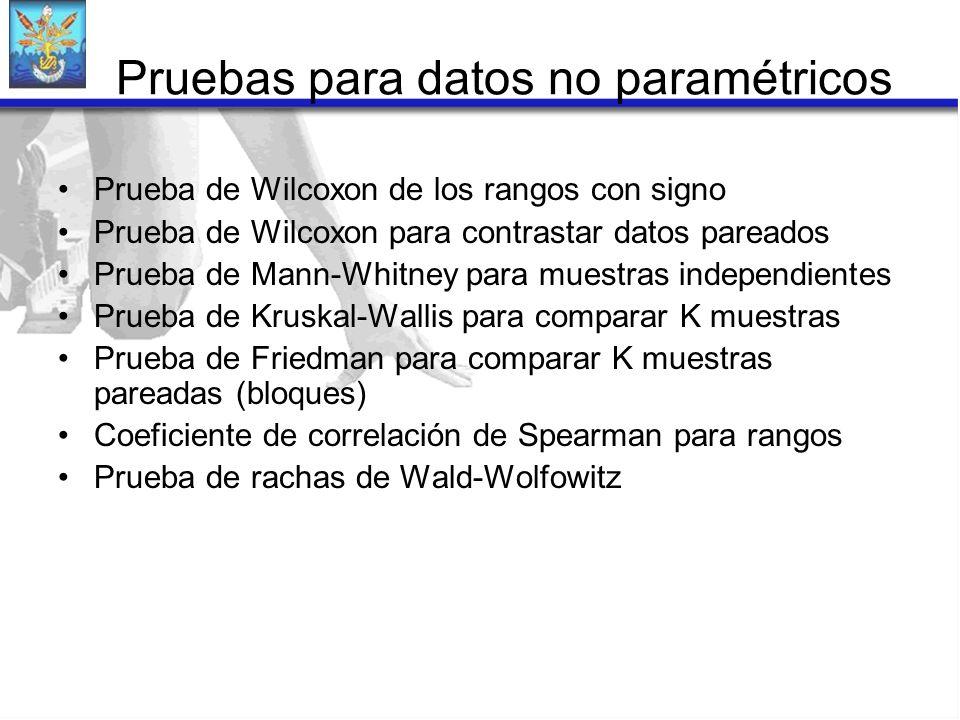 Pruebas para datos no paramétricos Prueba de Wilcoxon de los rangos con signo Prueba de Wilcoxon para contrastar datos pareados Prueba de Mann-Whitney